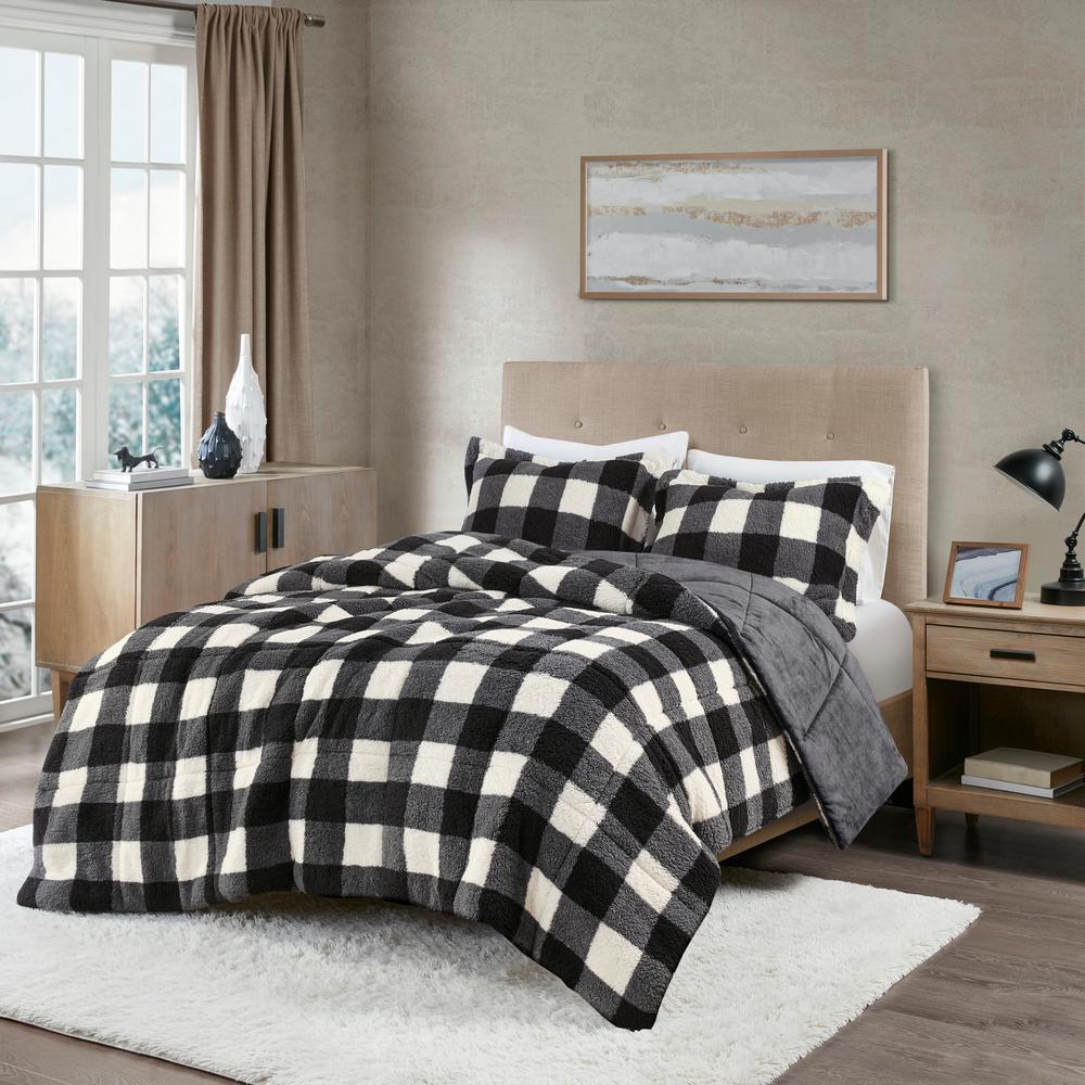 Mason Extra Warmth 3-piece Ivory/Black Full/Queen Print Sherpa Down Alternative Comforter Set