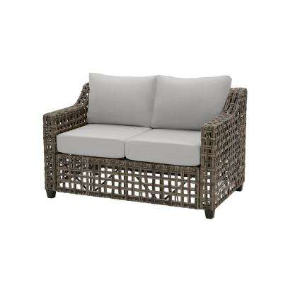 Briar Ridge Brown Wicker Outdoor Patio Loveseat with CushionGuard Stone Gray Cushions