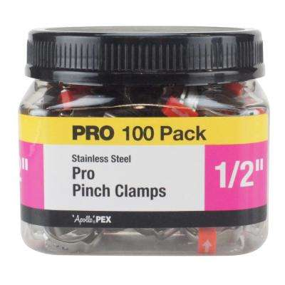 1/2 in. Stainless Steel PEX Barb Pro Pinch Clamp Jar (100-Pack)