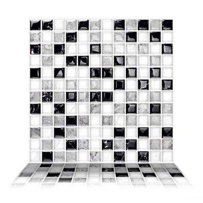 Mosaic Alaska 10 in. W x 10 in. H Gray Peel and Stick Decorative Mosaic Wall Tile Backsplash (6-Tiles)