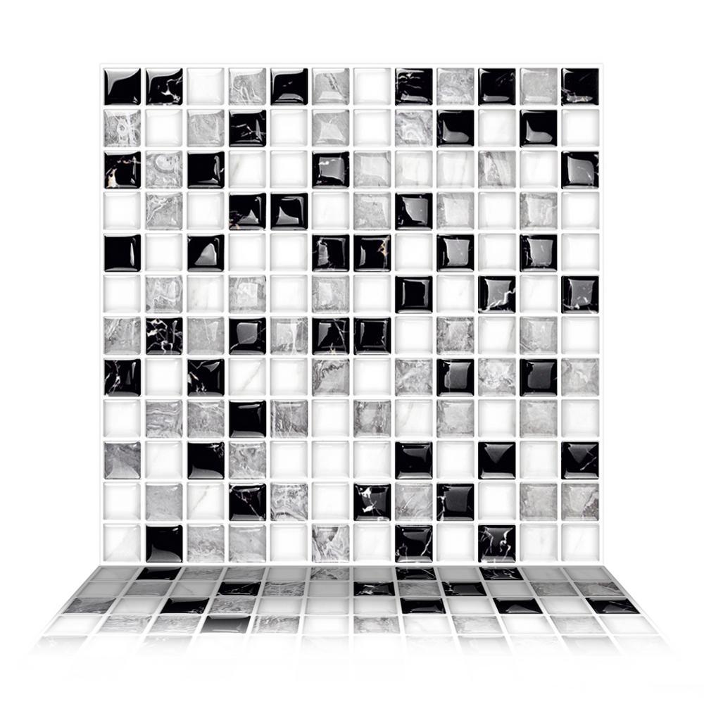Mosaic Alaska 10 in. W x 10 in. H Gray Peel and Stick Decorative Mosaic Wall Tile Backsplash (6-Tiles)