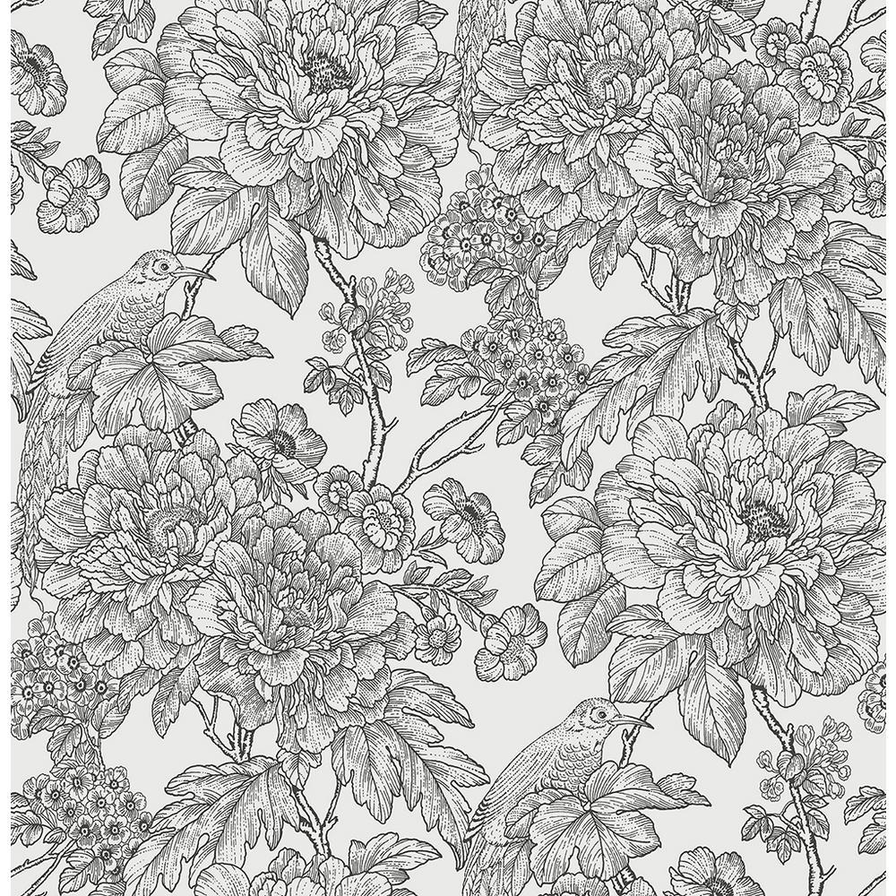 56.4 sq. ft. Birds of Paraside Breeze Black Floral Wallpaper