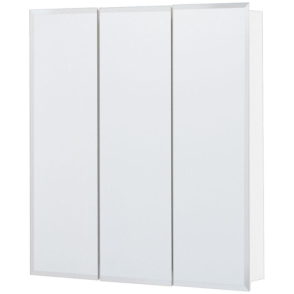 h frameless surface mount tri view bathroom medicine cabinet in silver t24 bm the home depot - Medicine Cabinet Home Depot