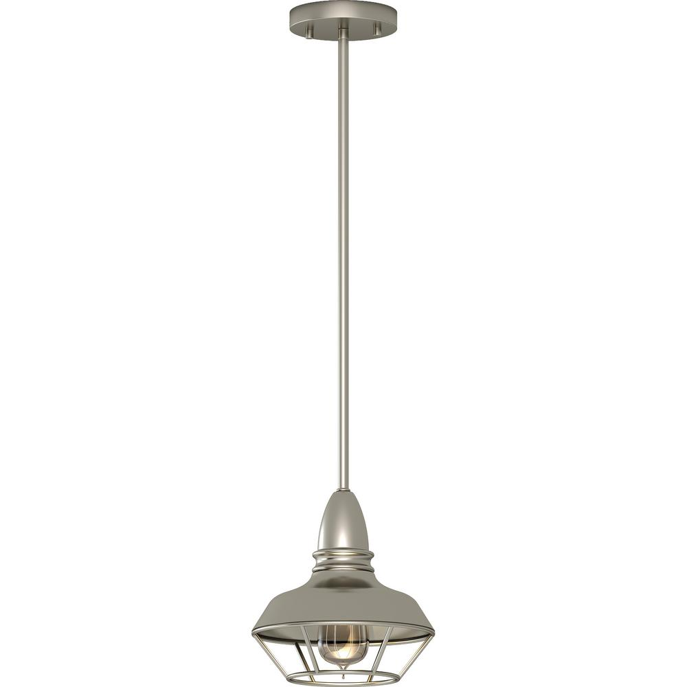 Volume Lighting 1 Light Indoor Brushed Nickel Mini Downrod Pendant With Caged Inverted Bowl