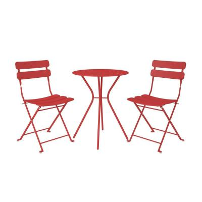 3-Piece Steel Outdoor Patio Bistro Set in Red
