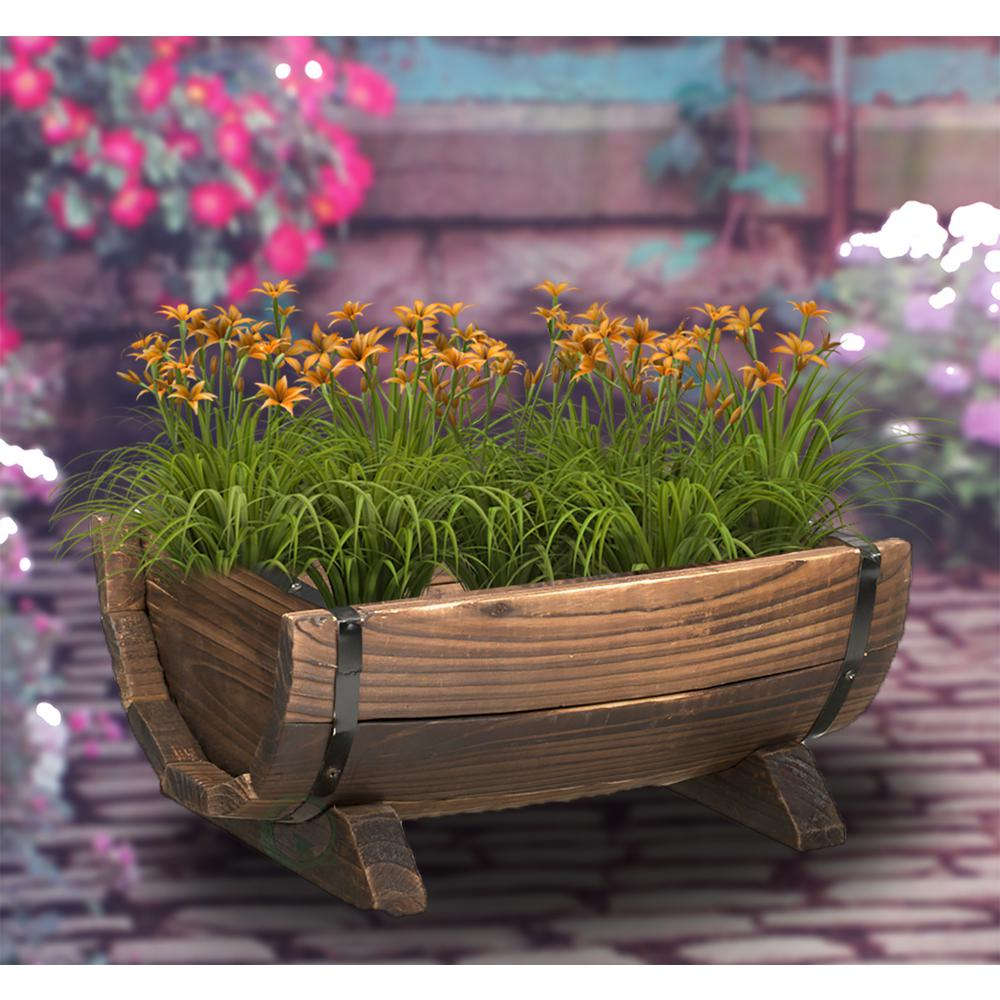 Gardenised Half Barrel Garden Planter - Small-QI003140.S - The Home on garden urns, garden patios, garden yard spinners, garden pots, garden ideas, garden pools, garden beds, garden vegetable garden, garden arbors, garden plants, garden boxes, garden bench, garden art, garden accessories, garden walls, garden trellis, garden steps, garden seeders, garden tools, garden shrubs,
