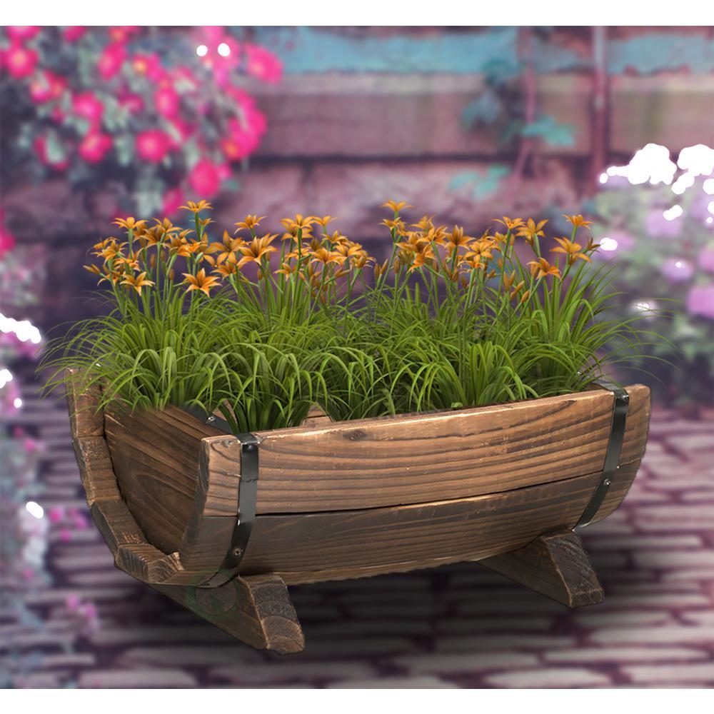 Vintiquewise half barrel garden planter small qi003140 s for Wooden barrel planter ideas