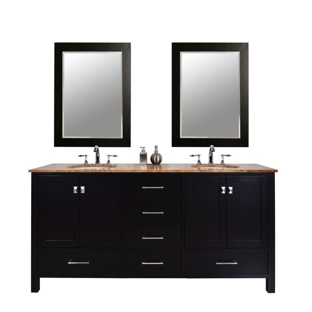 stufurhome Malibu 72 in. Vanity in Espresso with Marble Vanity Top in Travertine and Two Mirrors