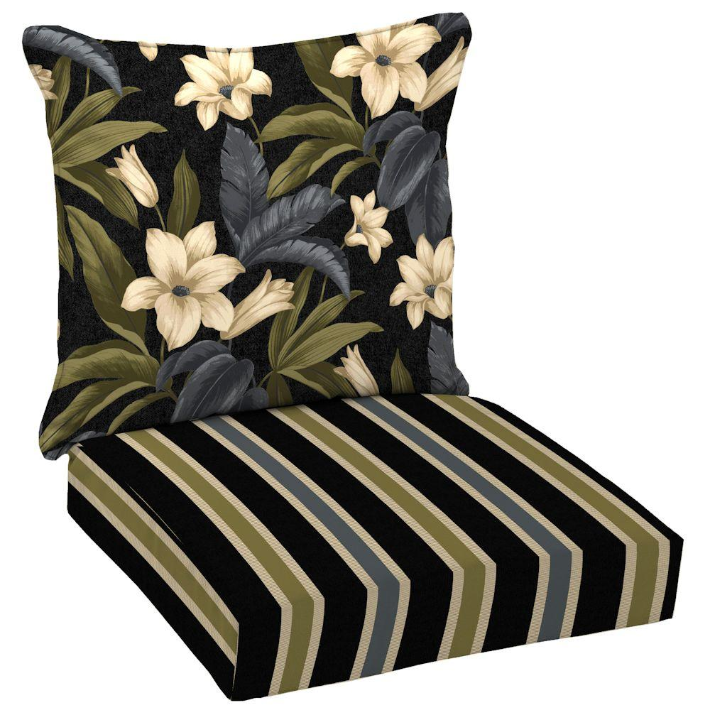 Hampton Bay Reversible Black Tropical Blossom Outdoor Deep Seat Cushion Set-DISCONTINUED