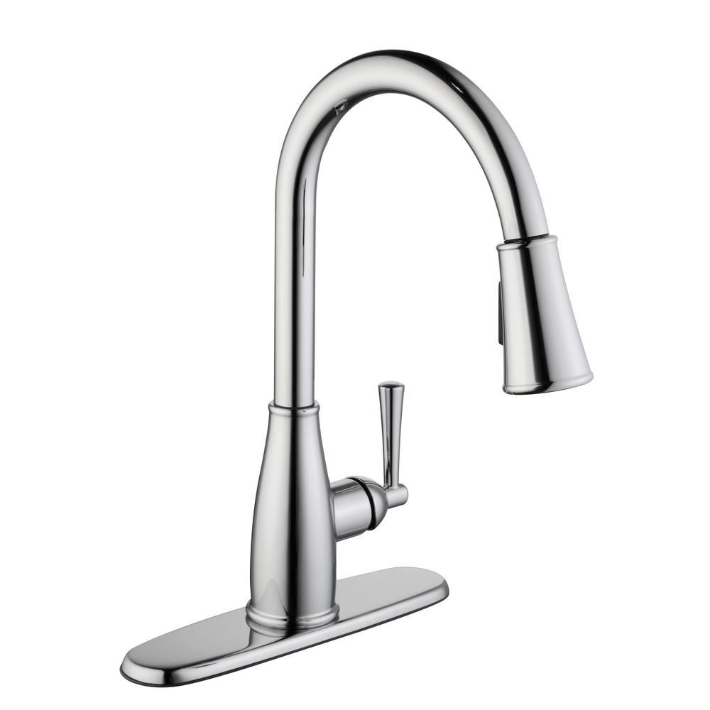 Glacier Bay Fairhurst Single-Handle Pull-Down Sprayer Kitchen Faucet with  TurboSpray and FastMount in Chrome