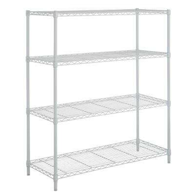 54 in H x 36 in. W x 14 in. D 4-Shelf Wire Ivory Finish Shelving Unit