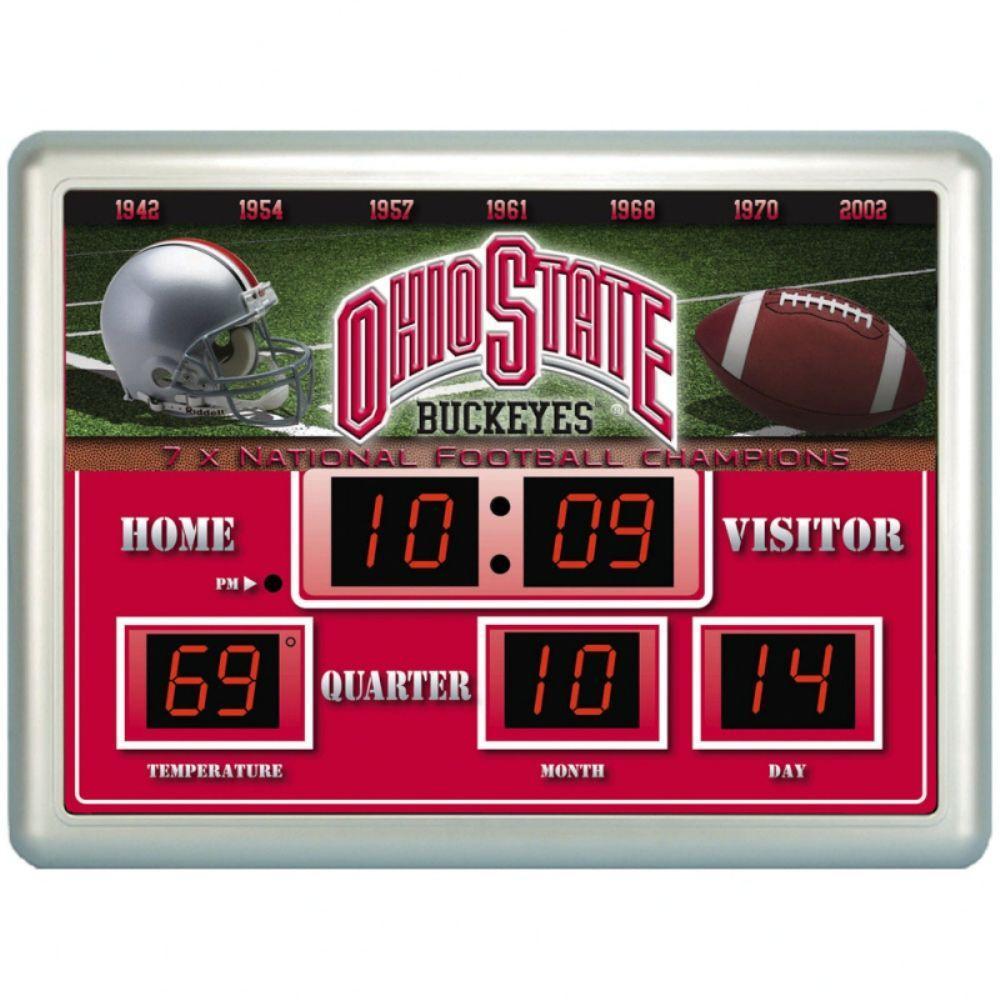 null Ohio State University 14 in. x 19 in. Scoreboard Clock with Temperature