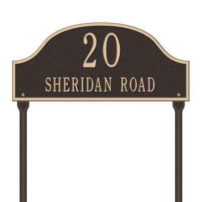 Admiral Standard Arch Bronze/Gold Lawn Two Line Address Plaque