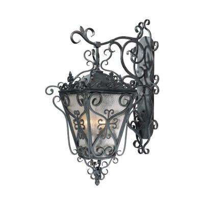 New Orleans Style Outdoor Collection 4-Light Wrought Iron Wall-Mount Lantern