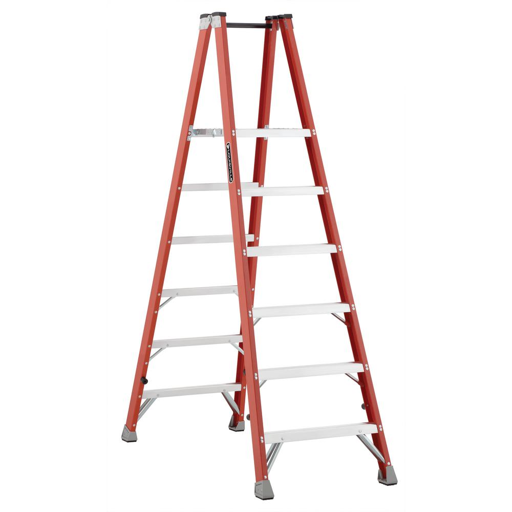 6 ft. Fiberglass Twin Platform Step Ladder with 300 lbs. Load