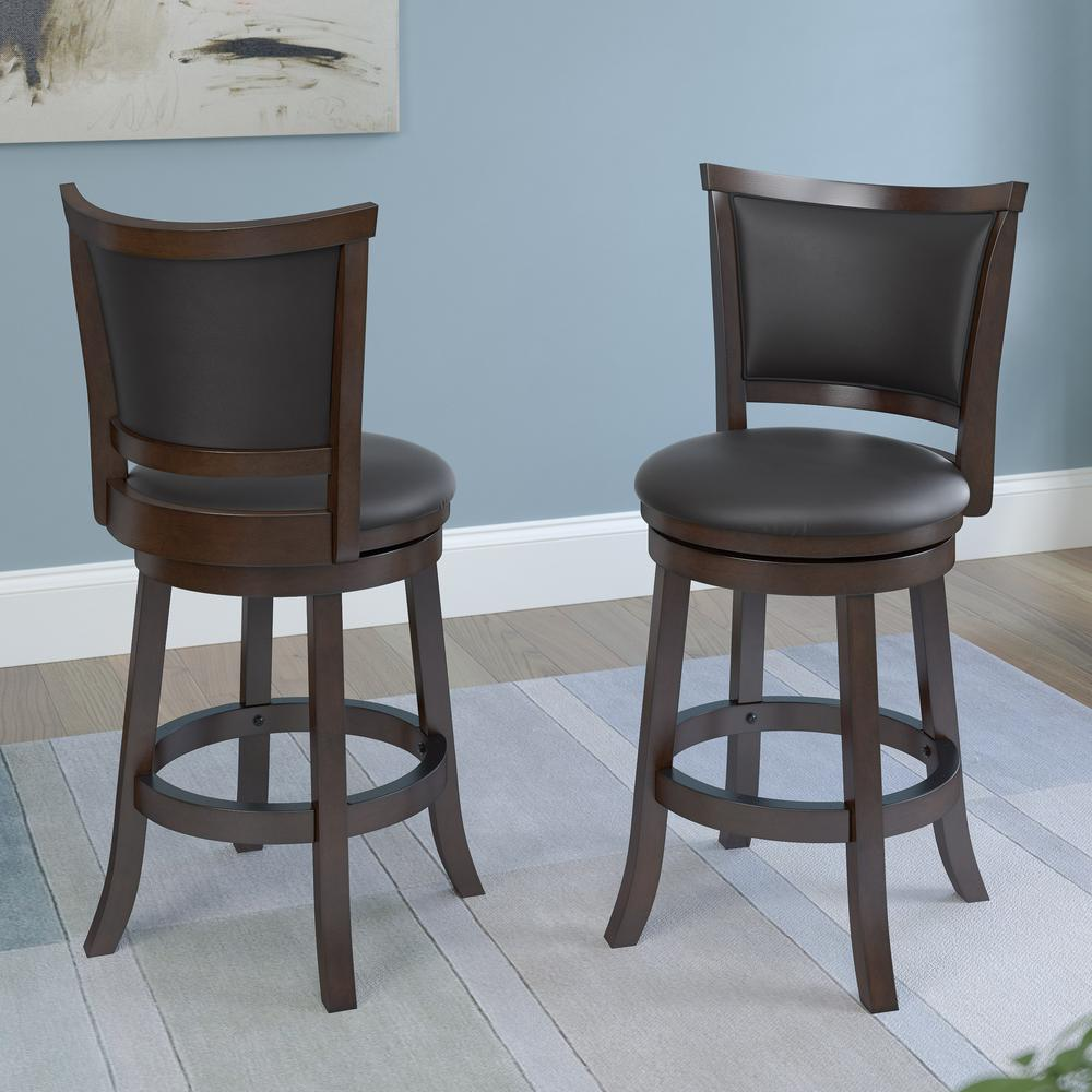 Brown Wood Counter Height Swivel Bonded Leather Seat Bar Stool