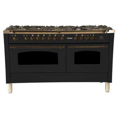 60 in. 6 cu. ft. Double Oven Dual Fuel Italian Range True Convection, 8 Burners, Griddle, Bronze Trim in Glossy Black