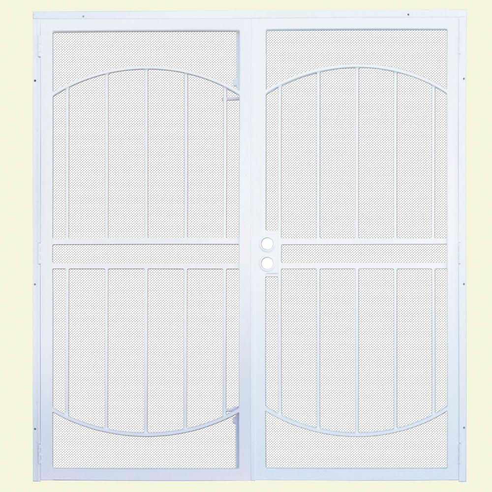 Arcadamax White Surface Mount Outswing Steel Security Double Door With Perforated Metal Screen