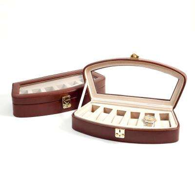 13.5 in. D x 2.75 in. H x 6 in. W Leather Watch Case in Brown