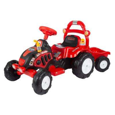 Battery Powered Ride on Toy Tractor and Trailer