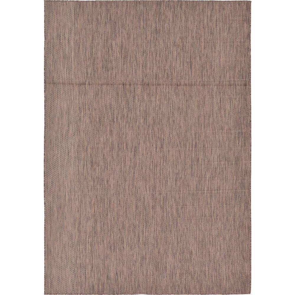 Unique Loom Outdoor Solid Light Brown 7 0 X 10 0 Area Rug 3128948