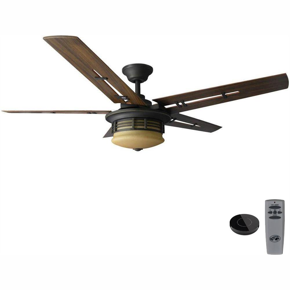 Hampton Bay Pendleton 52 in. LED Oil Rubbed Bronze Ceiling Fan with Light Kit Works with Google Assistant and Alexa