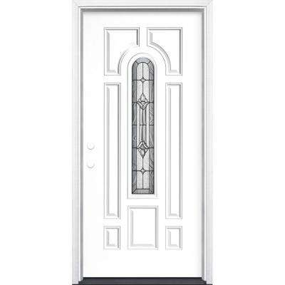 36 in. x 80 in. Providence Center Arch Right-Hand Inswing Painted Steel Prehung Front Door with Brickmold, Vinyl Frame