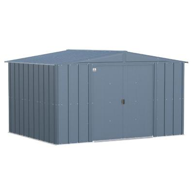 Classic 10 ft. W x 8 ft. D Blue Grey Steel Storage Shed