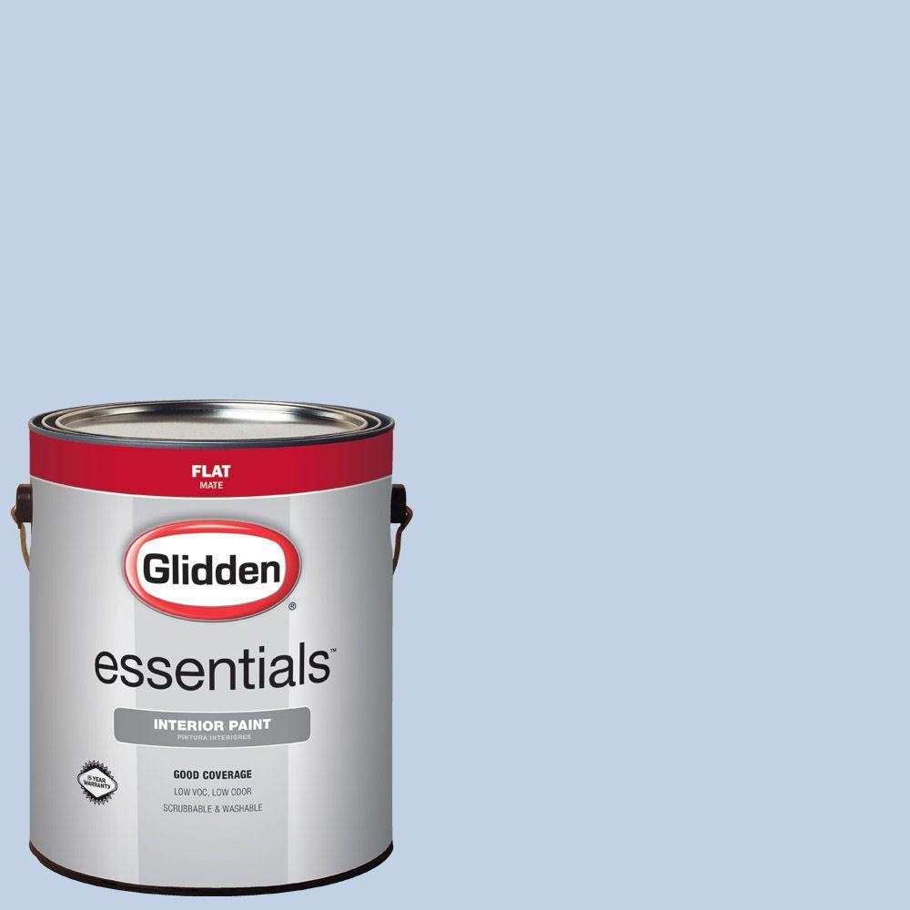 Glidden Essentials 1 Gal Hdgv19u Quiet Blue Flat Interior Paint Hdgv19ue 01fn The Home Depot