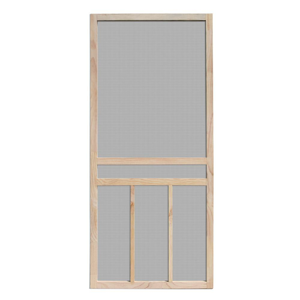 Unique Home Designs 36 in. x 80 in. Piedmont Unfinished Pine Outswing Wood Hinged Screen Door