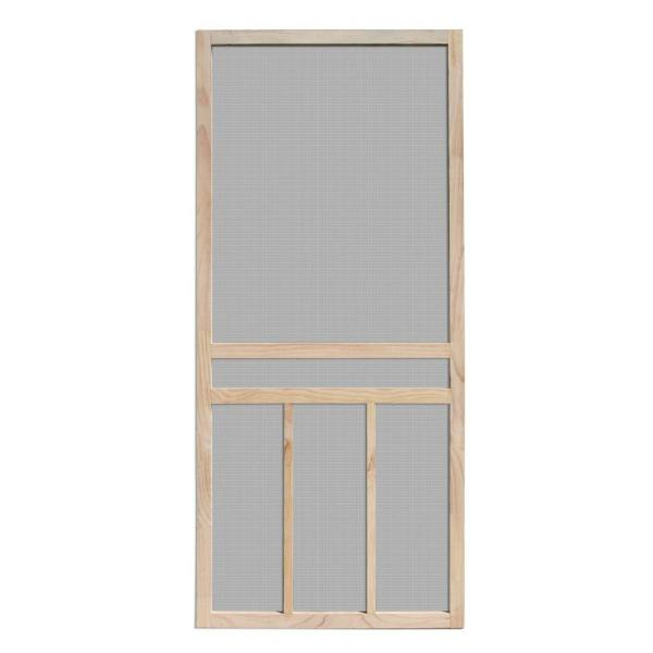 36 in. x 80 in. Piedmont Unfinished Pine Outswing Wood Hinged Screen Door