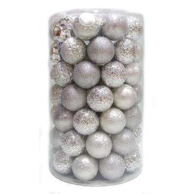 Holiday Traditions 3  in. Ornament Tube in Silver (75-Count)