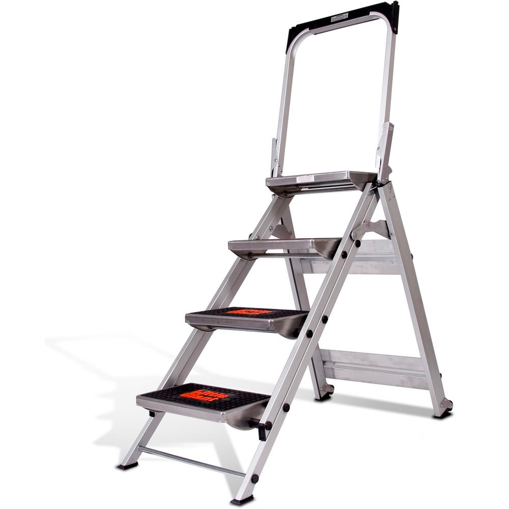 4-Step Safety Aluminum Step Ladder with Bar 300lb. Load Capacity Type