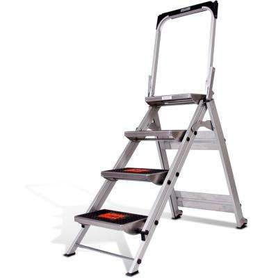 4-Step Safety Aluminum Step Ladder with Bar 300lb. Load Capacity Type IA Duty Rating
