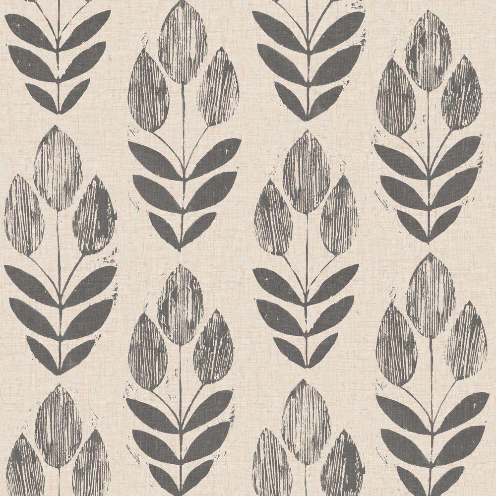 Scandinavian Black Block Print Tulip Wallpaper Sample