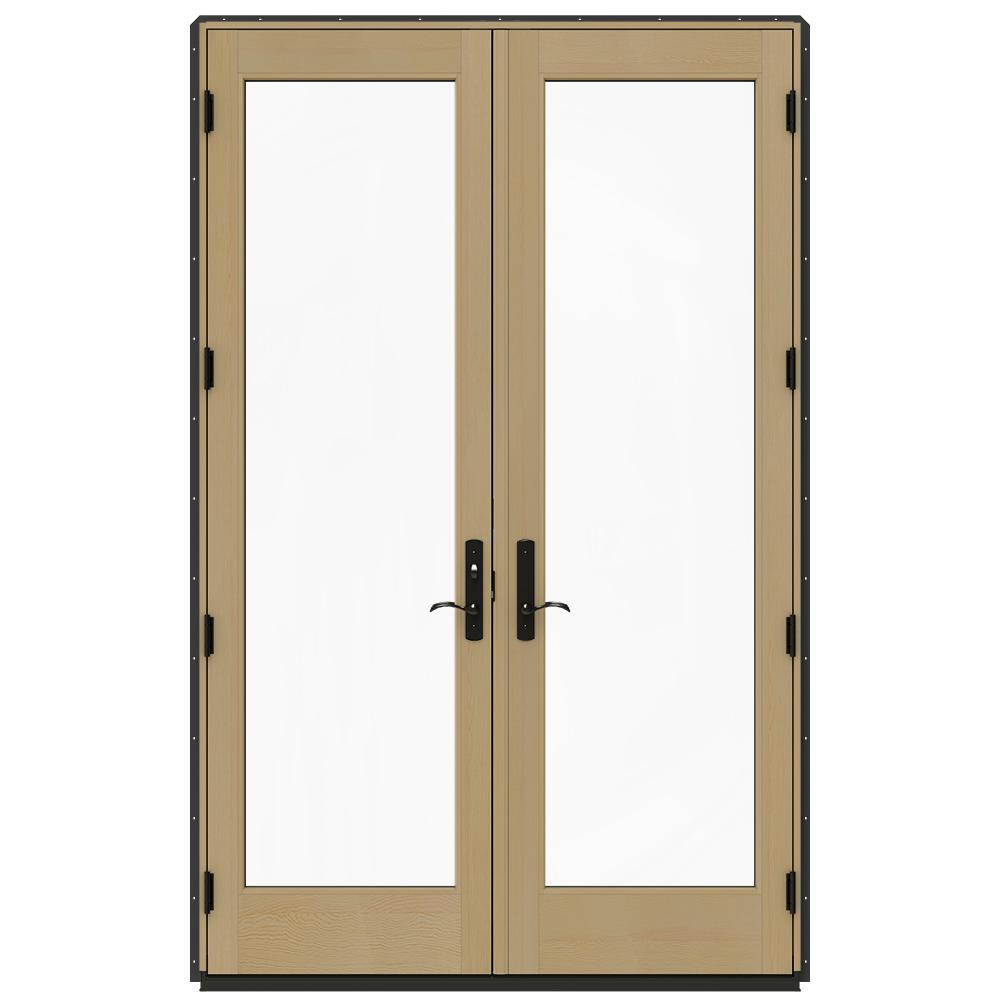 Jeld Wen 60 In X 96 In W 4500 Chestnut Bronze Prehung Right Hand Inswing French Patio Door