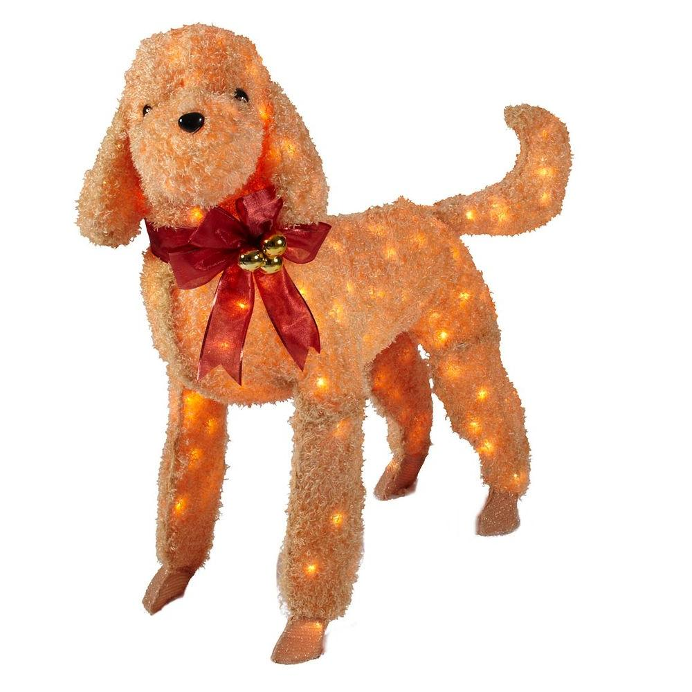 Home Accents Holiday 42 in. Brown Tinsel Lighted Dog