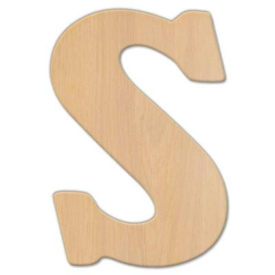 15 in. Oversized Unfinished Wood Letter (S)