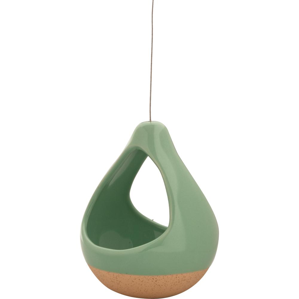 Live Green Nidos 4.25 in. Mint Ceramic Hanging Short Pear Planter