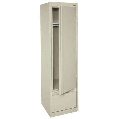 System Series 17 in. W x 64 in. H x 18 in. D Single Door Wardrobe Cabinet with File Drawer in Putty