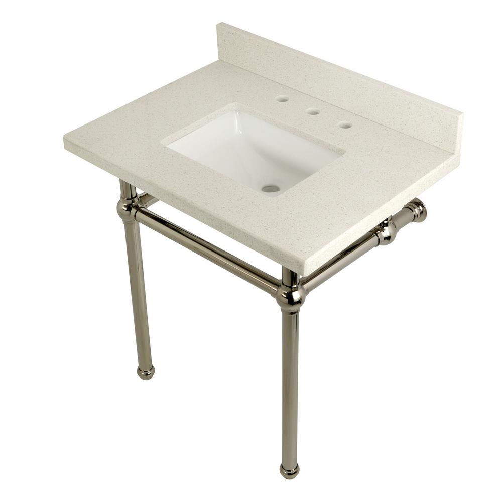 Square-Sink Washstand 30 in. Console Table in White Quartz with Metal