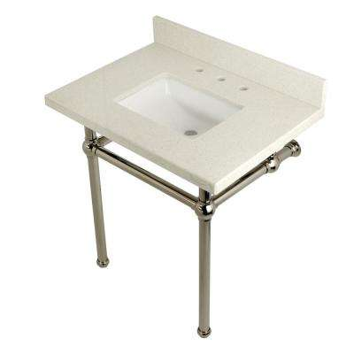 Square-Sink Washstand 30 in. Console Table in White Quartz with Metal Legs Polished Nickel