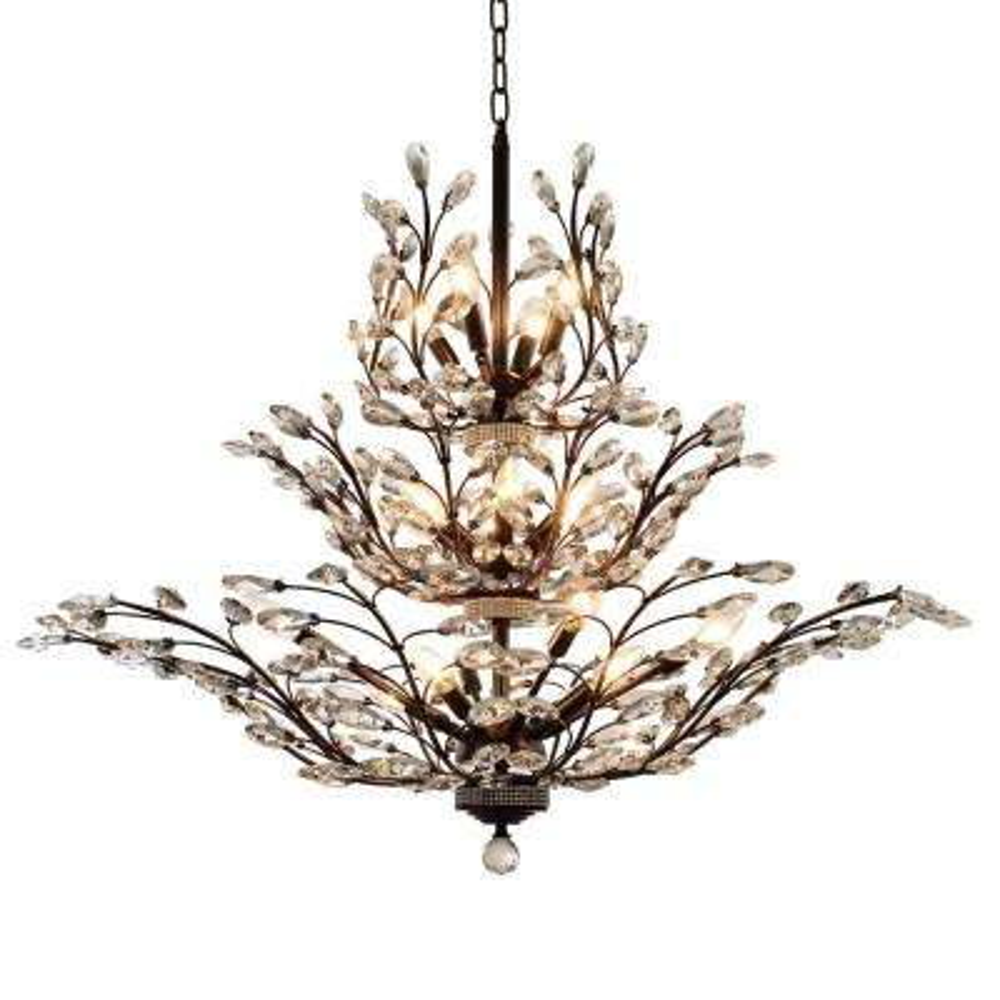 Aspen 18-Light Dark Bronze Crystal Chandelier
