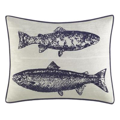 Salar Navy Cottom 16 in. x 20 in. Decorative Pillow
