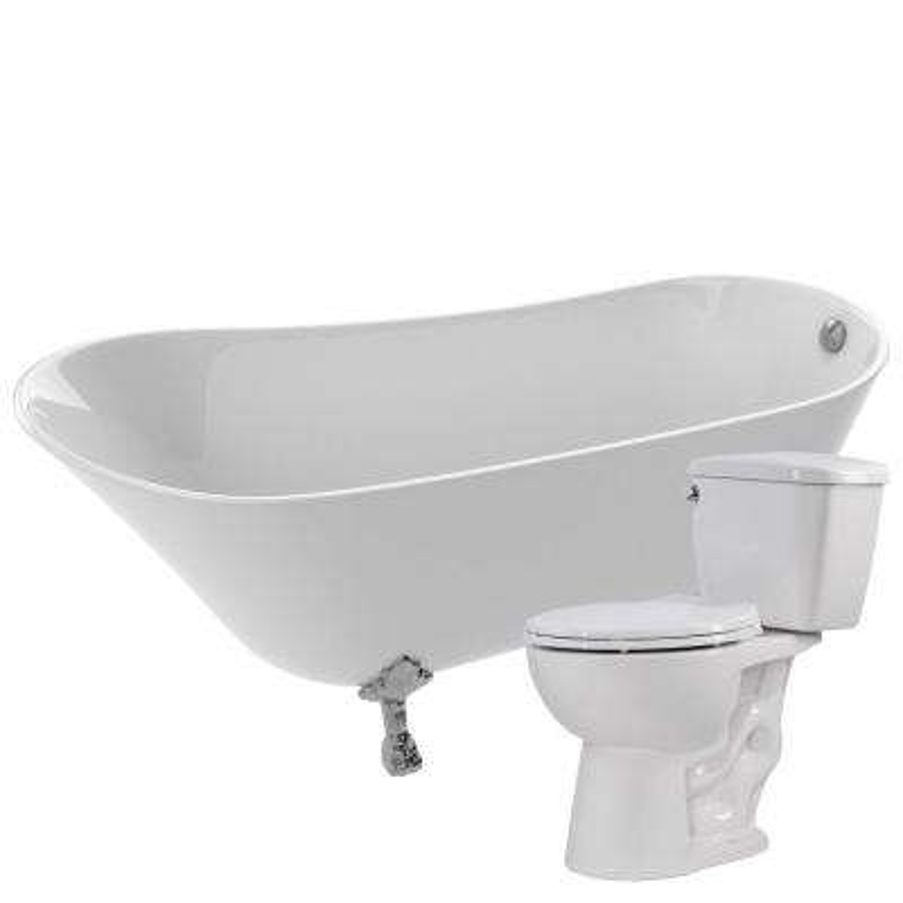 Legion 66.93 in. Acrylic Clawfoot Non-Whirlpool Bathtub in White with Cavalier 2-Piece 1.28 GPF Single Flush Toilet
