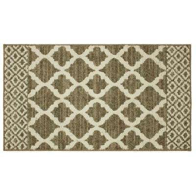 Modern Basics Moroccan Lattice Dark Khaki/Cream 2 ft. 6 in. x 3 ft.  9 in. Accent Rug