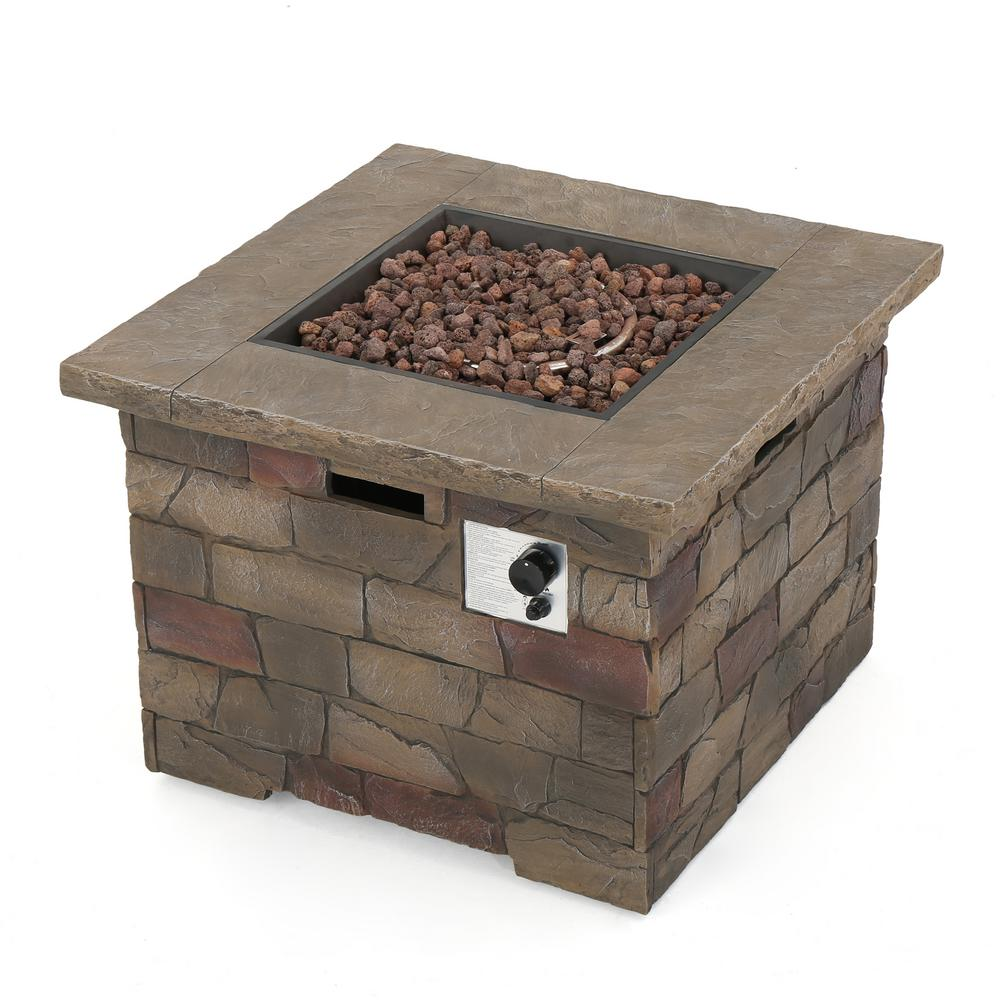 Noble House Dangelo 34.5 in. x 24 in. Square MGO Propane Fire Pit in Natural Stone