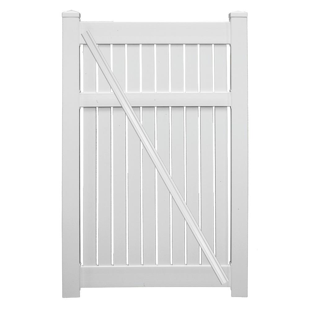 Huntington 3.8 ft. x 5 ft. White Vinyl Semi-Privacy Fence Gate Kit