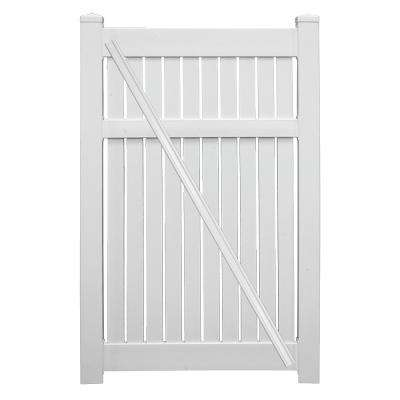Huntington 3.8 ft. x 6 ft. White Vinyl Semi-Privacy Fence Gate