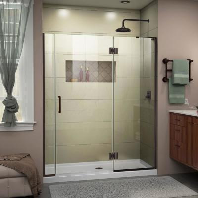 Unidoor-X 58 to 58.5 in. x 72 in. Frameless Hinged Shower Door in Oil Rubbed Bronze